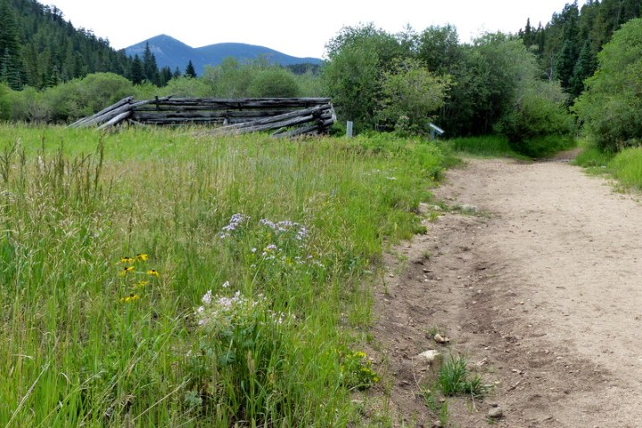 On our hike to Dude's Fishing Hole we pass the remains of The Belcher Barn on the left
