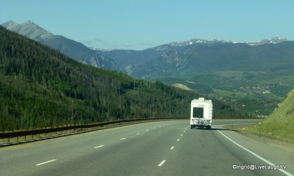 Traveling Interstate 70, 2 hours west of Denver, Colorado, in July