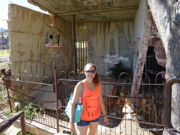 Ashton in front of the sliding jail