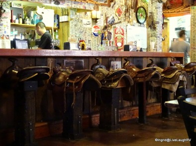bar stools at the Tortilla Flat restaurant