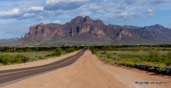 approaching the Superstition Mountains