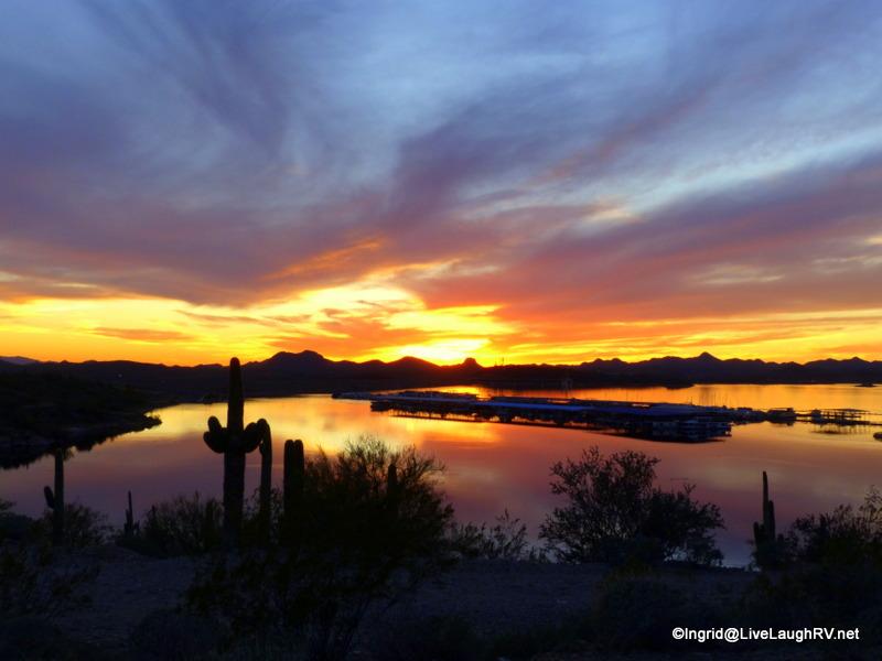 sunset over Lake Pleasant, Peoria AZ