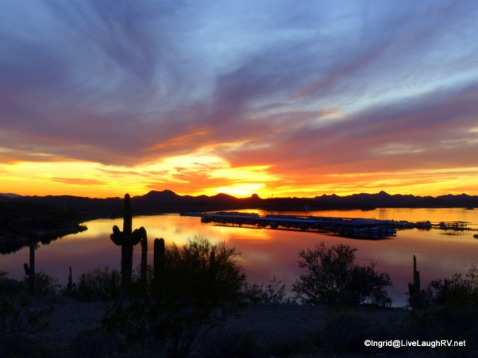 sunset over Lake Pleasant, Peoria AZ