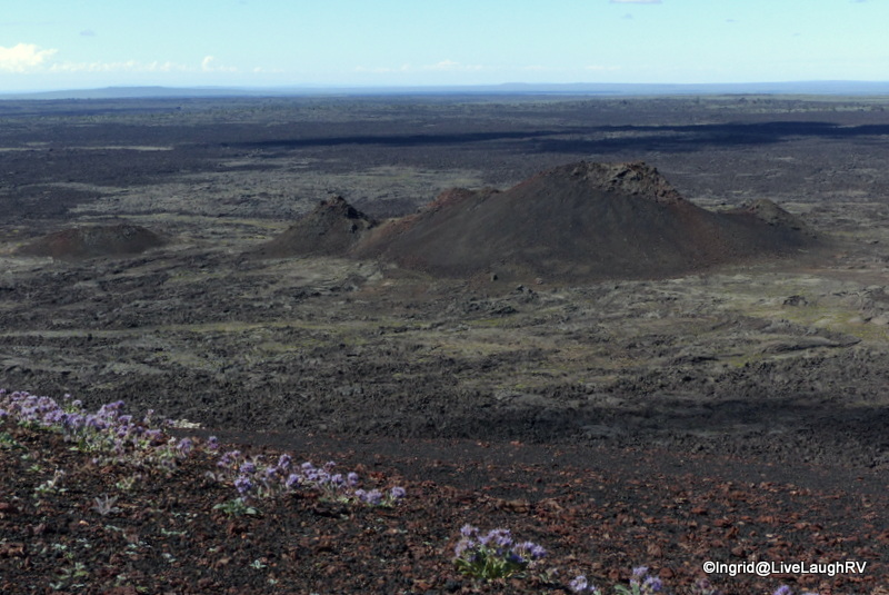 At the top of inferno cone - views of spatter cones