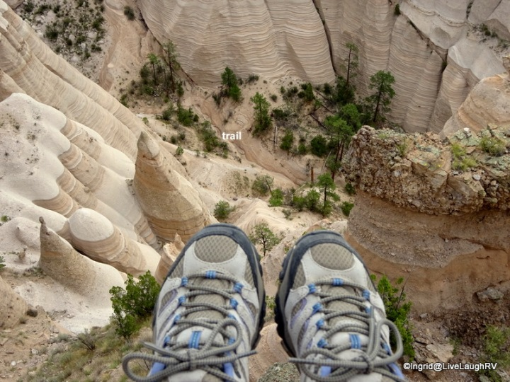 Sitting on the edge as I admire the view below - hey look, there's the trail