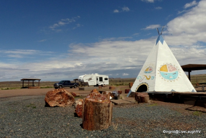 Our free campsite near the Petrified Forest National Park