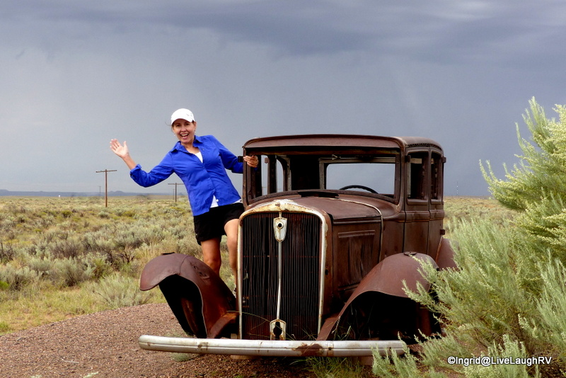 Retracing the historic route 66 - those are the original telephone poles. A quick photo before the bad storm rolls in.