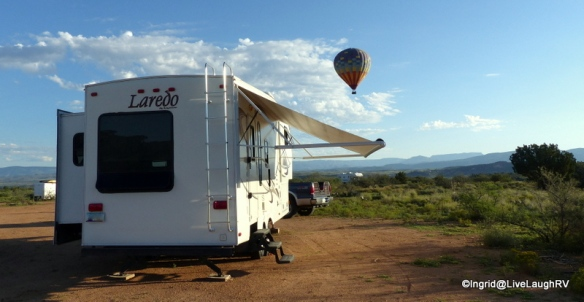 Boondocking near Cottonwood, AZ. Sedona off in the distance.