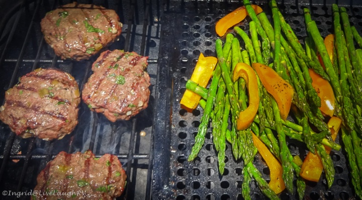 grilled burgers and asparagus