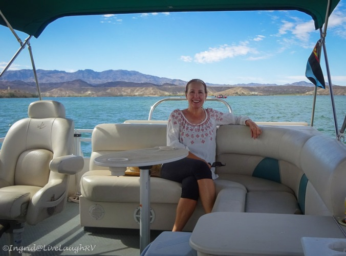 Ingrid boating on Lake Havasu
