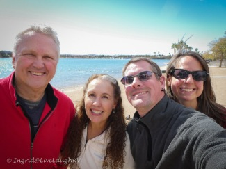 bloggers strolling along Lake Havasu Arizona