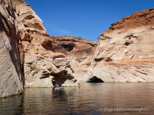 taking a tour boat through Antelope Canyon