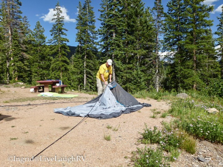 breaking camp at Lake Irwin campground Crested Butte Colorado