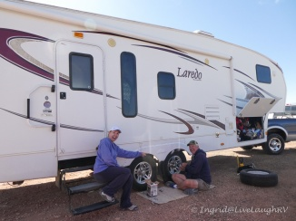 changing a flat tire on a RV