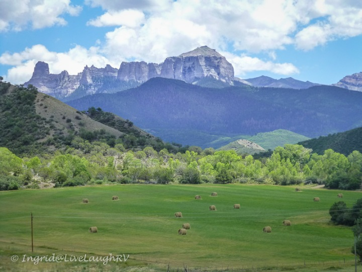 Ranches near Ridgway Colorado and Owl Creek Pass with Courthouse Rock in the background