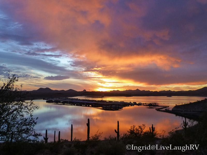 sunset over Lake Pleasant Arizona