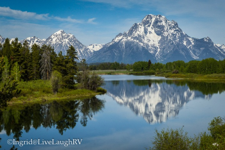 mountain reflections in a lake Grand Teton National Park, WY