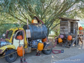 Each display tells a story. A septic truck pumping up pumpkin seed waste.