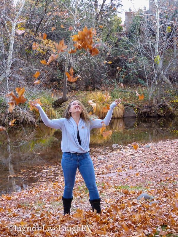 enjoying fall leaves