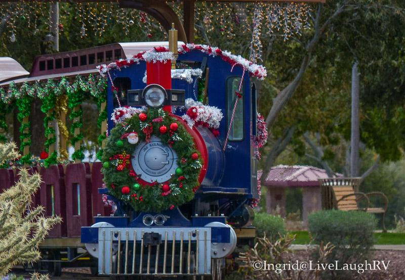holiday railroad. Enjoy a festive holiday train ride through a park