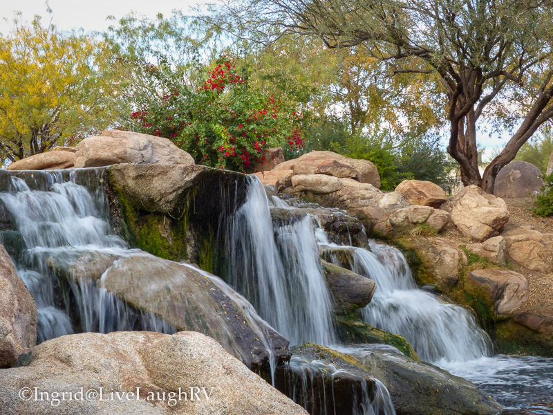 Visiting the park in Anthem Arizona. Waterfalls, ponds and birds.