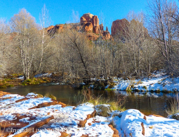 snow covered ground against stunning red rock in Sedona Arizona