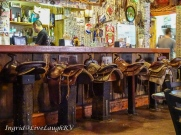 The restaurant has saddles for barstools.
