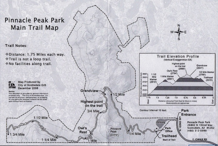 Pinnacle Peak Trail Map Scottsdale Arizona