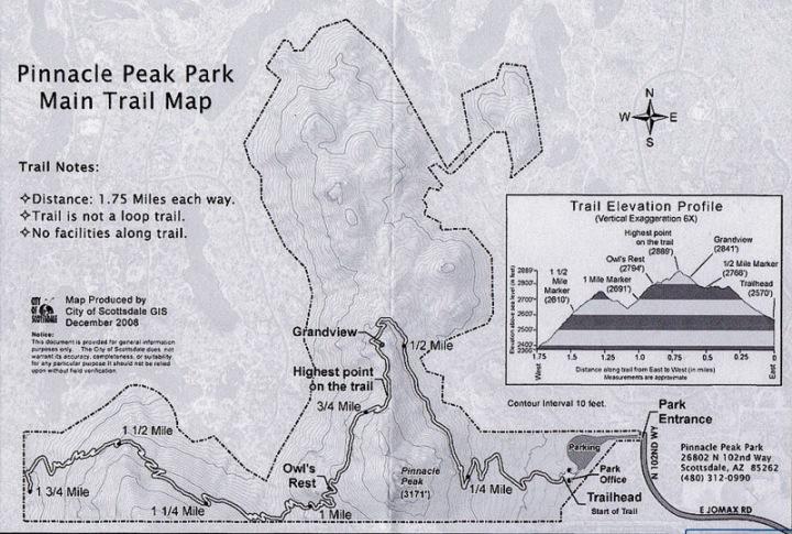 Pinnacle Peak Trail Map Scottsdale Arizona