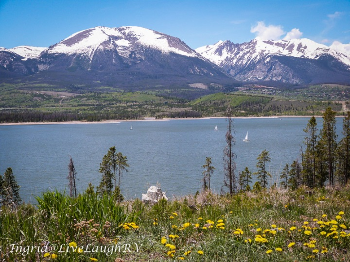 Prospector Campground, view of Dillon Reservoir and mountains. White River National Forest camping, #campingnearDenver, #DillonResevoir, #Breckenridge