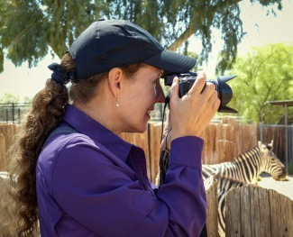 Gal taking a photo of a zebra