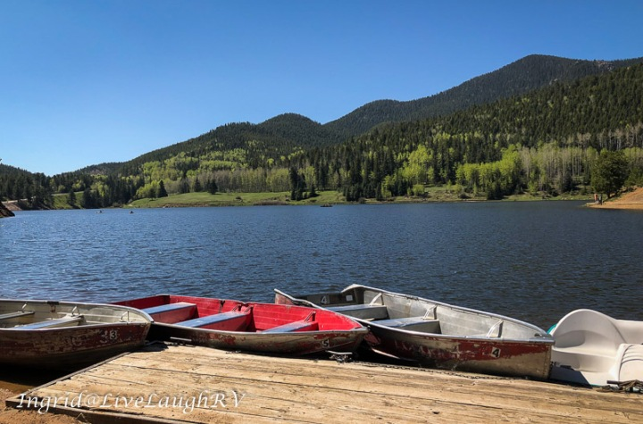 fishing boats at a mountain Lake