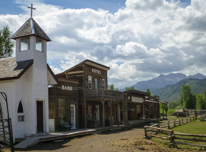 historical western buildings in Ridgway Colorado