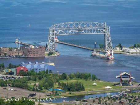 A ship going under the Aerial Lift Bridge
