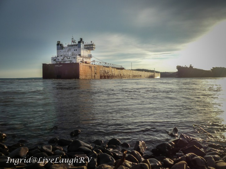An Ore ship pulling into docks in Two Harbors Minnesota Agate Bay