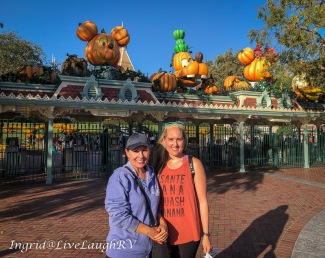 Disneyland in October decorated for Halloween
