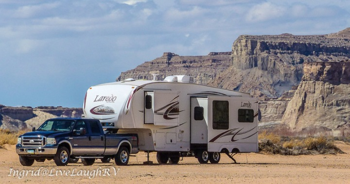 F250 Truck and a Keystone fifth wheel camped near the shores of Lake Powell, Page, Arizona