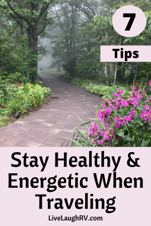 Pinterest pin, tips to stay healthy and energetic when traveling