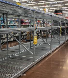Walmart empty isle, no toilet paper at Walmart