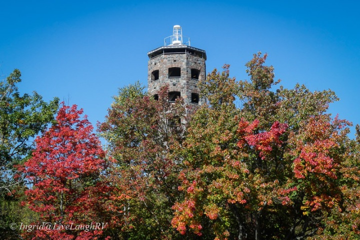 Enger Park Tower with fall colors, Duluth, Minnesota